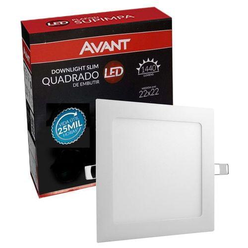 Luminária LED Downlightslim Quadrada Bivolt 18w 6500K